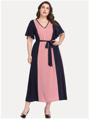 LD-G {Blissfully Yours} SALE!! Navy/Mauve Contrast V-Neck Dress EXTENDED PLUS SIZE 5X (Up Size Two Sizes)