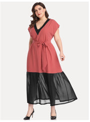 LD-R {Taking Notes} SALE!! Paprika/Black V-Neck Dress with Tie Belt  EXTENDED PLUS SIZE 5X (Up Size One Size)