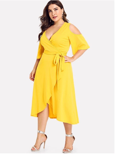 LD-H {Shine My Way} Yellow Cold-Shoulder Wrap Dress Extended Plus