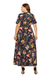 LD-O {Weekend Bliss} Navy Floral Print Wrap Dress Extended Plus