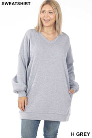 41 SLS-M [Cozy Days} SALE!!  Light Grey V-Neck Tunic W/ Pockets