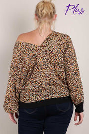 41 CP-B {Prowl Around}  SALE!! Leopard Print Tunic w/front pocket PLUS SIZE 1X 2X 3X