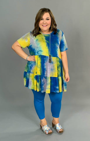 PSS-V {Happy Now} Yellow/Blue Tie-Dye Print Tunic or Dress