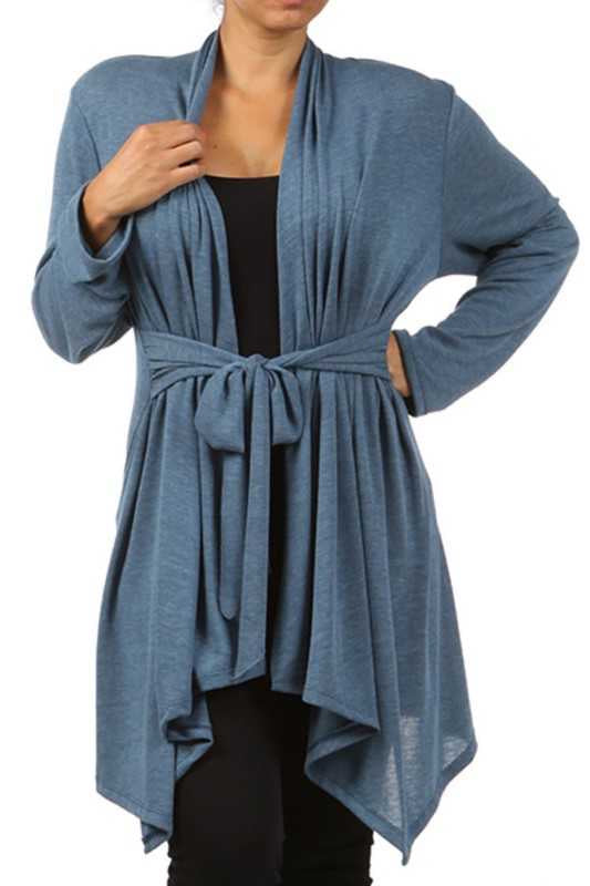 41 OT-A {No Blues Here} Indigo Tie Front Cardigan PLUS SIZE XL 2X 3X