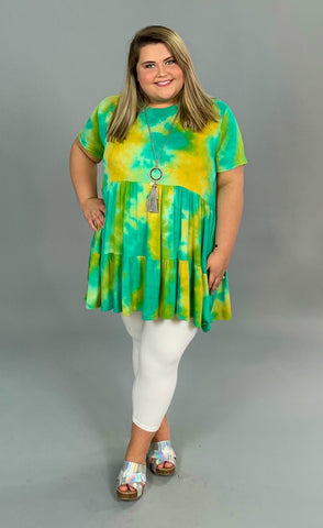 PSS-G {Happy Now} Aqua/Mustard Tie-Dye Tunic or Dress