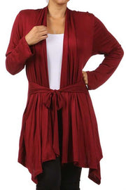 41 OT-G {One Perspective} Burgundy Tie Front Cardigan PLUS SIZE XL 2X 3X