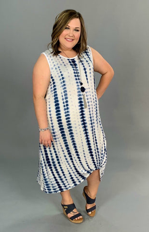 LD-V {Perfect Timing} Navy Bamboo Tie-Dye Dress Knotted Hem