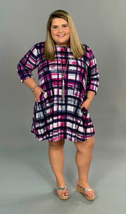 PQ-F {Out Of Sight} Magenta/Navy Printed Dress w Pockets