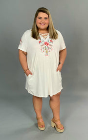 "SD-C *{Beyond Words} ""UMGEE"" White Floral Dress with Pockets"