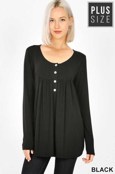 40 SLS-C {Your Forever} Black Button Long Sleeve Top PLUS SIZE XL 2X 3X