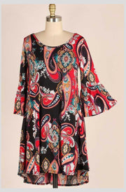 PQ-B {Dancing In Your Arms} Black Paisley Print Dress Extended Plus