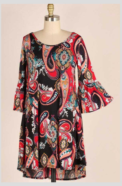 PQ-B {Dancing In Your Arms} Black Paisley Print Dress  EXTENDED PLUS SIZE 3X 4X 5X