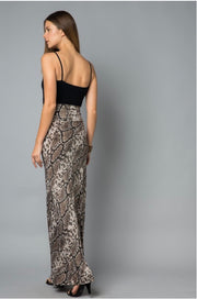 BT-A {How Ironic} Snakeskin Print Long Skirt Fold-Over Waist