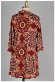 PQ-U {Catch Me Later} Burgundy Printed Dress with Pockets