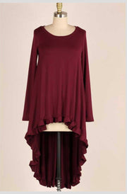 LD-Y {Story Untold} Wine Hi-Lo Tunic with Ruffle Detail