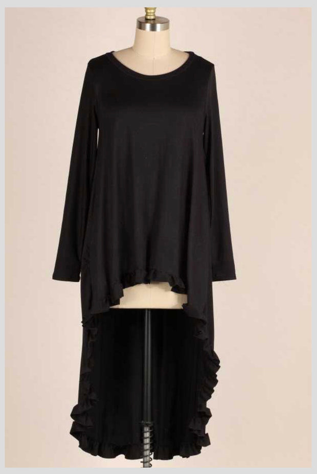 LD-Z {Story Untold} Black Hi-Lo Tunic with Ruffle Detail