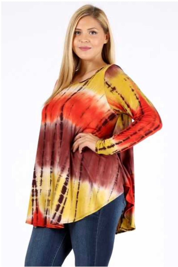 PLS-W {Caught Your Eye} Loose Bamboo Tie-Dye Print Top