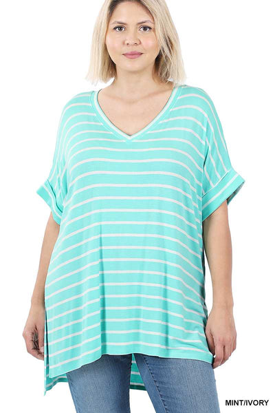 63 PSS-E {Good Energy} Mint Striped Top Cuffed Sleeves PLUS SIZE XL 2X 3X