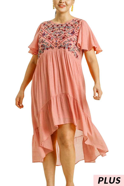 "62 SD-J {Cafe Society} ""UMGEE"" Embroidery Hi-Lo Dress PLUS SIZE XL, 1XL, 2XL"