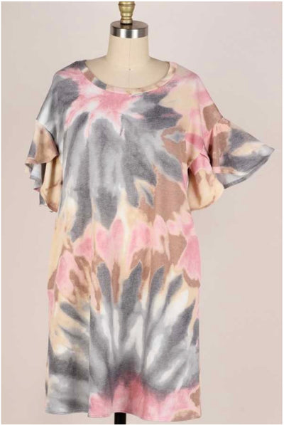 62 PSS-F {Yesterday's Memories} Earthtone Tie-Dye Dress PLUS SIZE XL 2X 3X