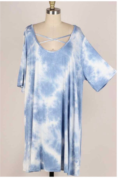 62 PSS-I {Beautiful Skies} Blue Tie-Dye Criss-Cross Dress EXTENDED PLUS SIZE 3X 4X 5X