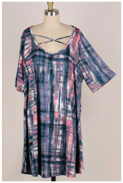 62 PSS-S {Wishing To See You} Blue/Multi Criss-Cross Dress EXTENDED PLUS SIZE 3X 4X 5X