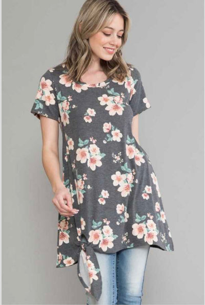 62 PSS-Z {Lovely Ways} Gray Floral Tunic with Side Tie EXTENDED PLUS SIZE 4X 5X 6X