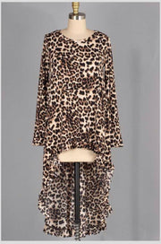 LD-T {Exclusive Design} Leopard Print Hi-Lo Top Ruffle Hem