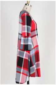 PQ-B {Reason To Believe} Plaid Dress with Bell Sleeves Extended Plus