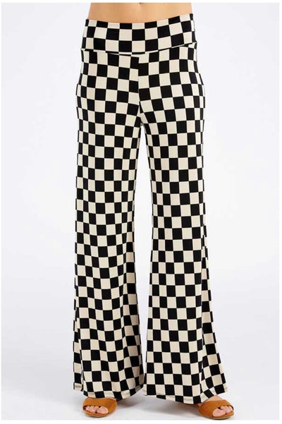 BT-A {Feeling Diva} SALE!! Black/Tan Checkerboard Print Palazzo Pants PLUS SIZE