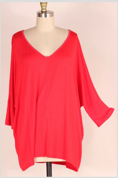 SQ-C {Back To The Basics} Red V-Neck Top with Dolman Sleeves