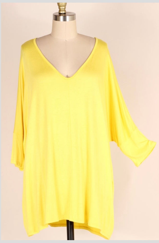 SQ-B {Back To The Basics} Yellow Top with Dolman Sleeves