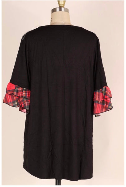 CP-A {Try Your Best} Black Top with Red Plaid Ruffle Sleeves