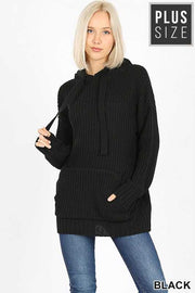 HD-B {Never Look Back} Black Hooded Knit Sweater  PLUS SIZE 1X 2X 3X SALE!!