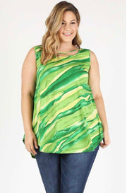 SV-G {Wonderful Ways} Green Printed Tunic W/ Criss Cross Detail Extended Plus SALE!!