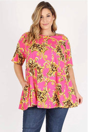PSS-T {Here Comes The Sun} Hot Pink Tunic Gold Leopard Design Extended Plus FLASH SALE!!