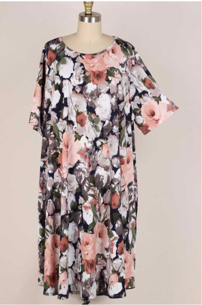 62 PSS-V {Impossible Dreaming} Floral Print Dress EXTENDED PLUS SIZE 3X 4X 5X
