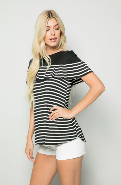 CP-L {Finest Moments} Black Striped Top with Yoke Detail