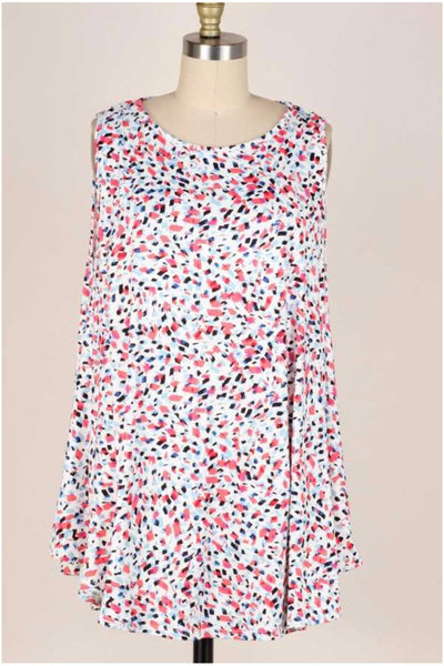 62 SV-D {Be Cool} Coral/Blue Speckled  Print Sleeveless Top EXTENDED PLUS SIZE 3X 4X 5X