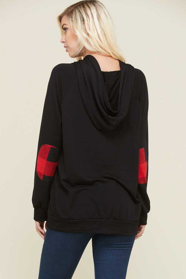 HD-W {Heard About You} Black Hoodie with Buffalo Plaid