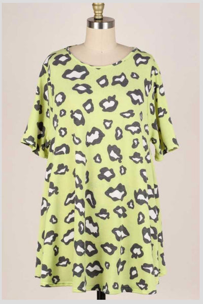 63 PSS-F {Cute As A Cat} Green Leopard Print Top EXTENDED PLUS 3X 4X 5X