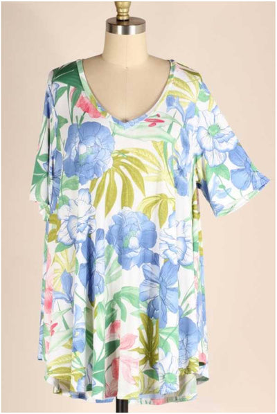 62 PSS-L {Breezy Sunsets} Blue Tropical V-Neck Top EXTENDED PLUS SIZE 3X 4X 5X