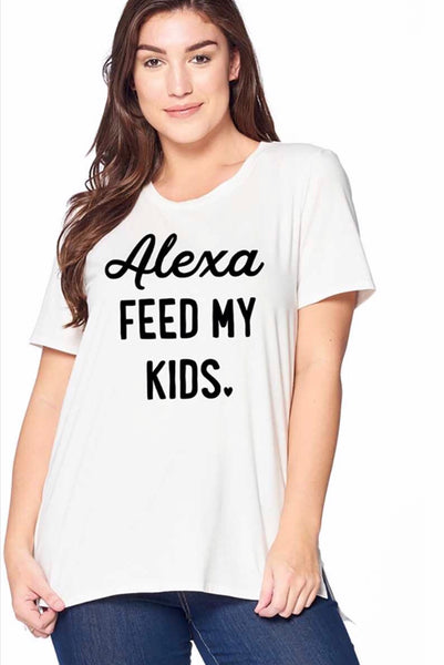 GT-F {ALEXA FEED MY KIDS} White T-Shirt 100% Cotton
