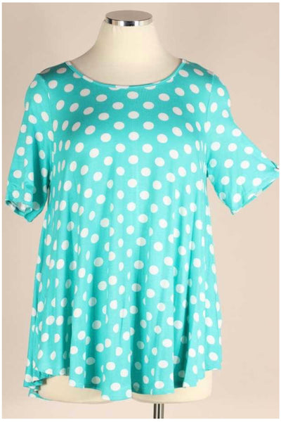 62 PSS-K {Must Confess} Turquoise Polka-Dot Top EXTENDED PLUS SIZE 3X 4X 5X