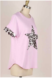 63 CP-H {You're A Star} Pink Top with Leopard Star PLUS SIZE XL 2X 3X