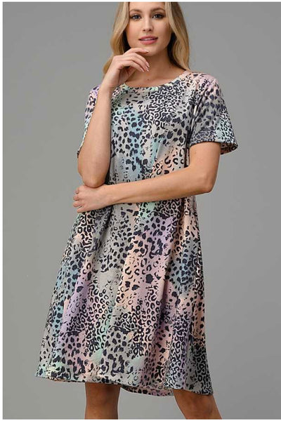 62 PSS-I {Bright Ideas} Pastel Leopard Print Dress PLUS SIZE XL 2X 3X