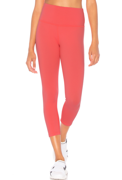 LEG/  {Spring Time} Coral High Waistband Yoga Capri Leggings (Soft)