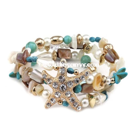 Bce Blue/ivory Starfish Rhinestone Center Bracelet