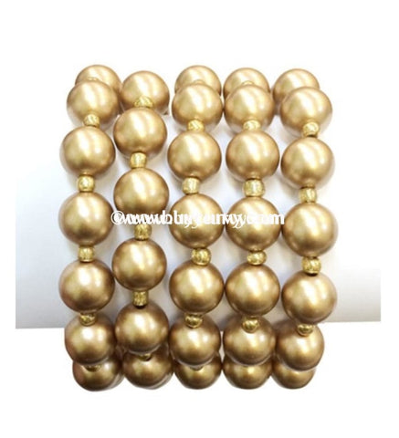 Bce Brass Multi Set Pearl Bracelet