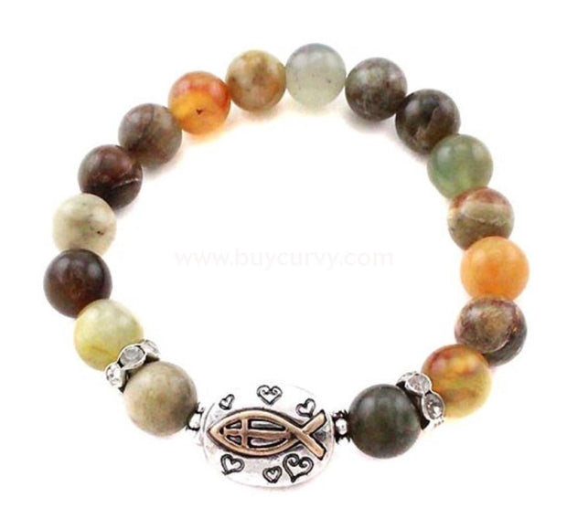 Bce Brown/green Faith Fish Bracelet